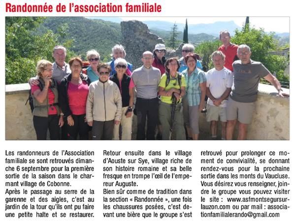 randonnée association familiale de montségur sur lauzon
